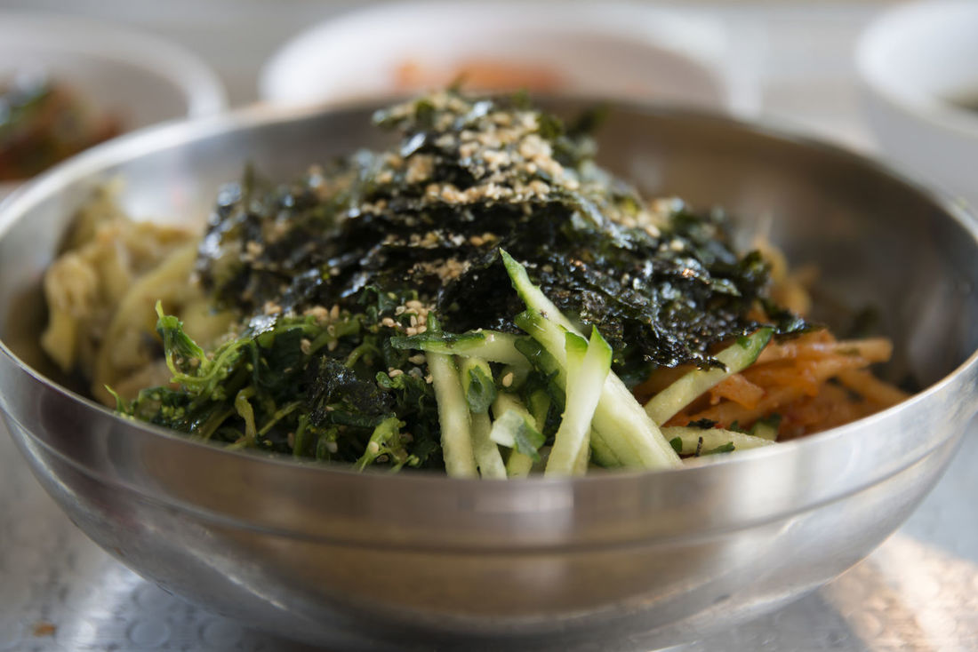 view of Bibimbap, one of Korean traditional foods Bibimbap Korean Food Korean Traditional Food Bowl Close-up Day Food Food And Drink Freshness Healthy Eating Indoors  No People Ready-to-eat Vegetable