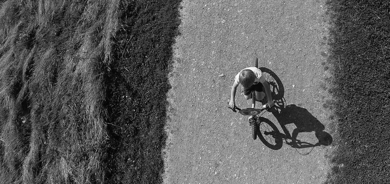 Bike ride @ sunset Aerial View Blackandwhite Bycycle Child Learning Playing Riding Summer Sunset Transportation Flying High