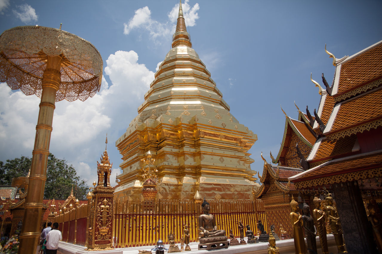 religion, place of worship, spirituality, architecture, gold colored, building exterior, built structure, pagoda, travel destinations, gold, sky, day, outdoors, no people