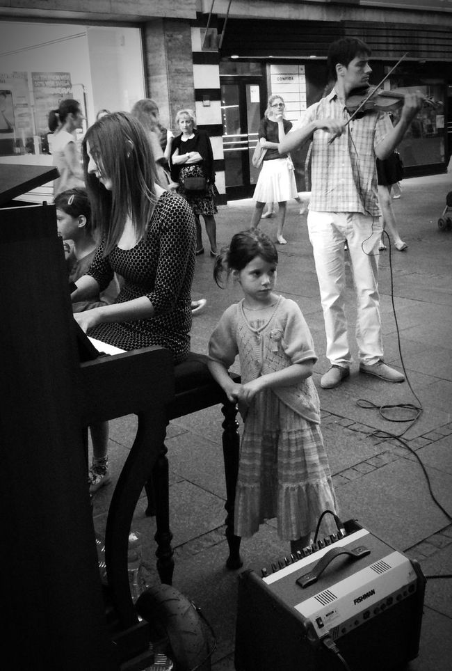 Streetphotography Streetmusicians Looking Into The Future Blackandwhite Family Belgrade People Blackandwhitestreetphotography Young Girl With Big Dreams  Thoughtful Girl Family Of Artists The Street Photographer - 2016 EyeEm Awards Young Girl Observing The World Peopleonthestreet