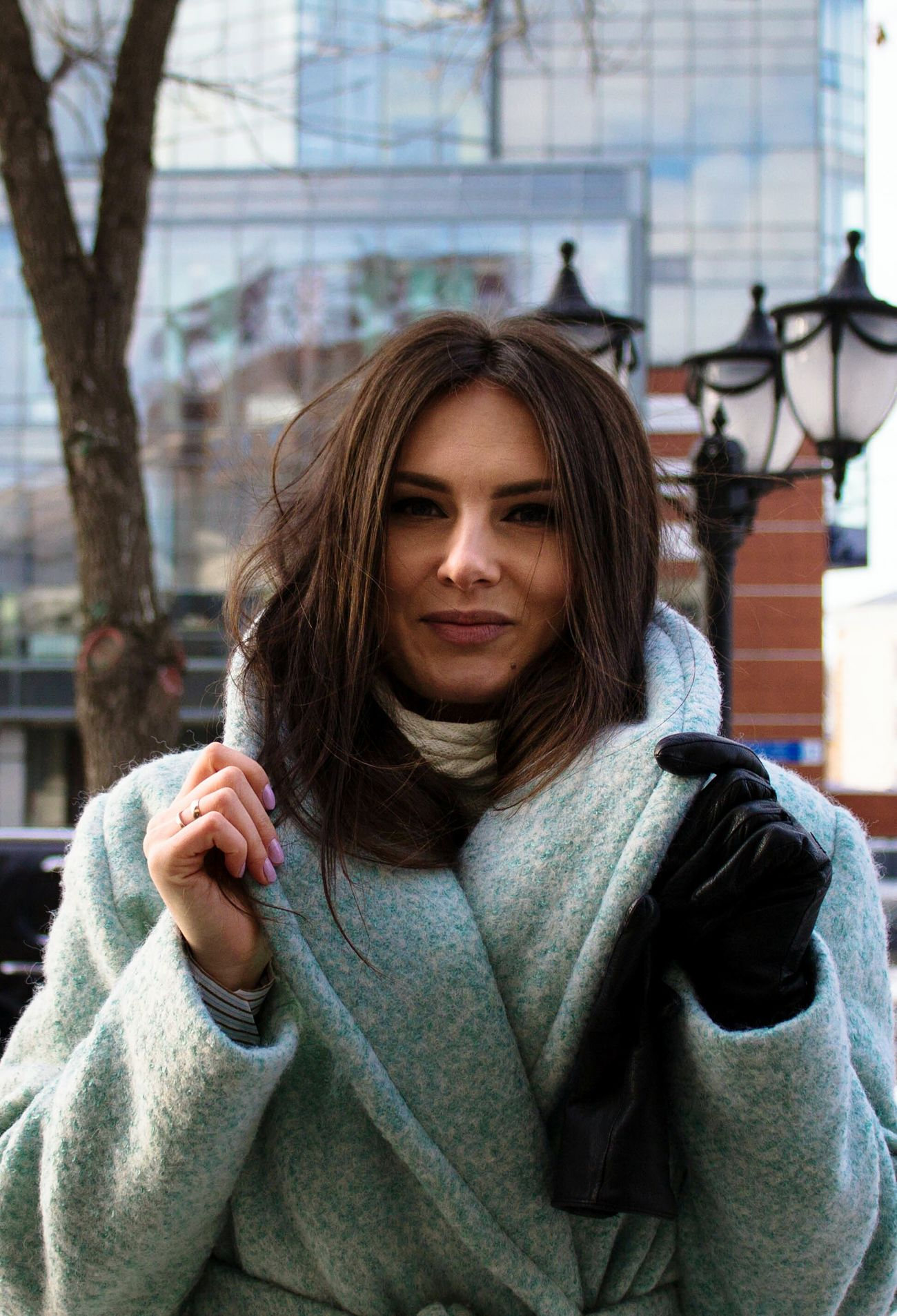 Warm Clothing Young Adult Portrait One Woman Only Only Women Adults Only One Person One Young Woman Only Winter Beautiful People Young Women Beauty Adult People Outdoors City Overcoat Human Body Part Day City Women Happiness Street Photography Street