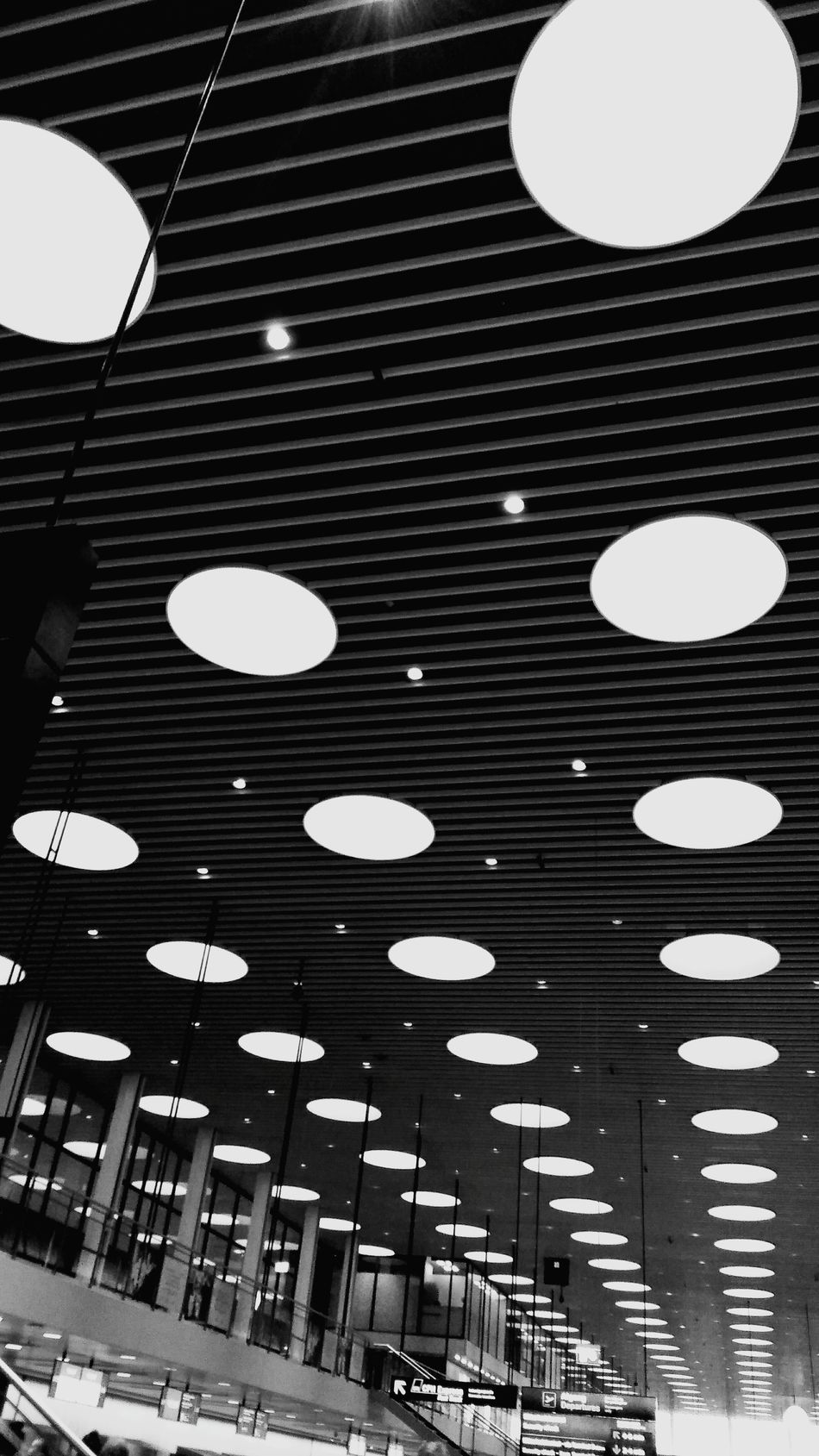 Kopenhavn Patterns Distorted View Welcome To Black Long Goodbye Airport Copenhagen Ceiling Indoors  Architecture Built Structure Low Angle View No People Lights