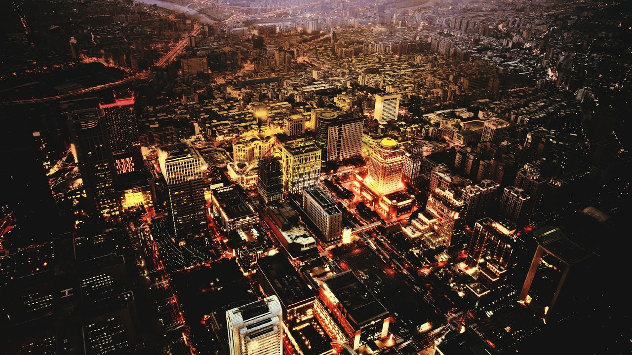 cityscape, architecture, city, high angle view, building exterior, aerial view, night, illuminated, modern, skyscraper, no people, travel destinations, outdoors, built structure, residential