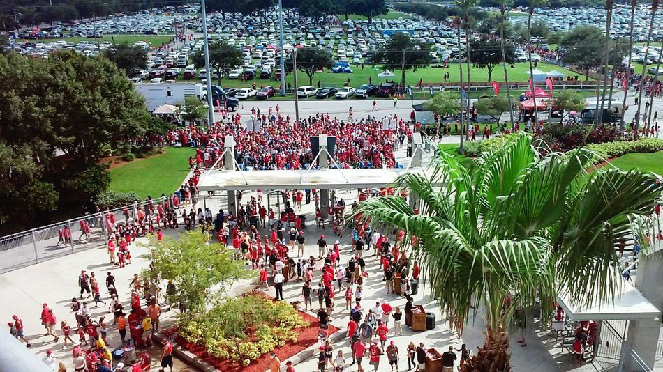 Crowded People Headed To The Game From Above