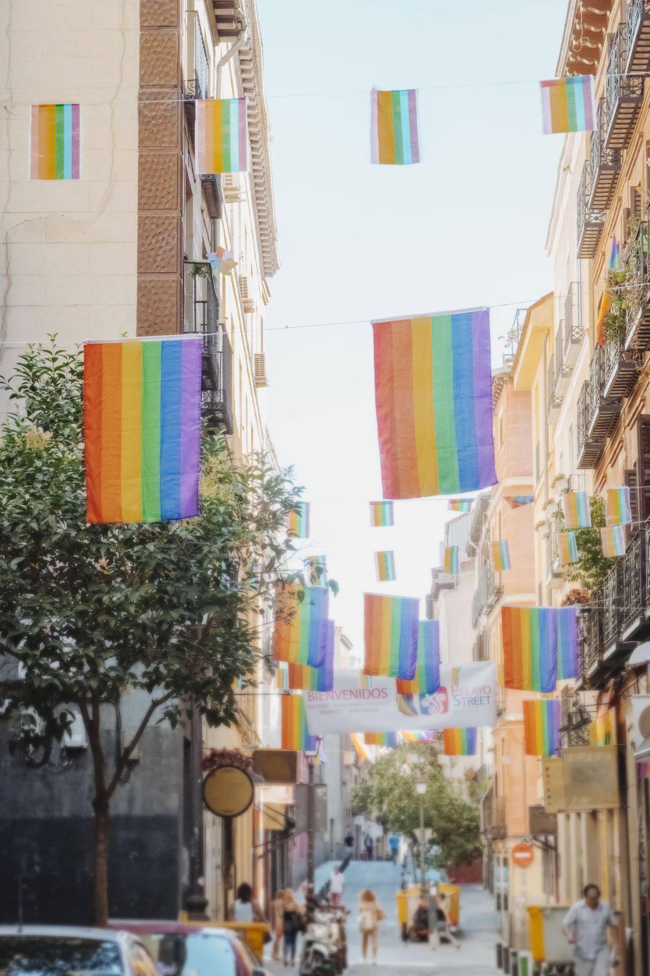 Architecture Building Exterior Built Structure Chueca City City Location Day Flag Flags Gay Pride Hanging Land Vehicle Madrid Spain Multi Colored Multicolored Flags No People Outdoors Pride Pride Parade Rainbow Flag Sky Street Street Photography Tree