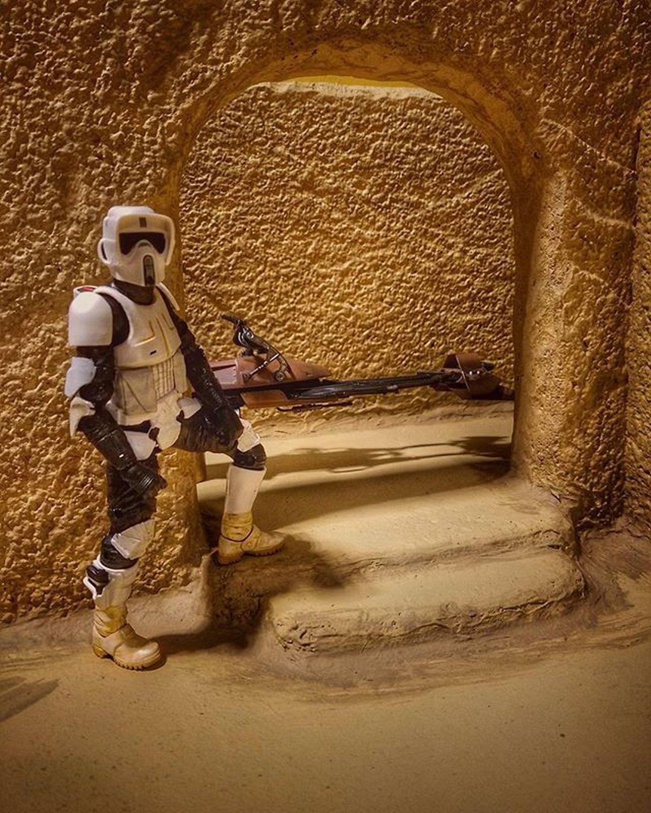 Patroling Sandtooine. Starwars Starwarstoyfigures Starwarsblackseries Toyphotography Tatooine Sandtooine Scouttrooper Speederbike Starwarstheblackseries Lookingforthosedroids