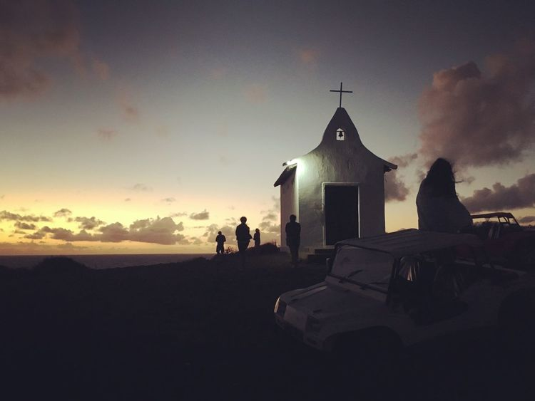 Fernando de Noronha Sky Sunset Real People Cloud - Sky Outdoors Men Women Religion Nature Leisure Activity Built Structure Beach Silhouette Architecture Sea Building Exterior One Person Beauty In Nature Day People Perspectives On Nature Sunlight Tranquil Scene Church