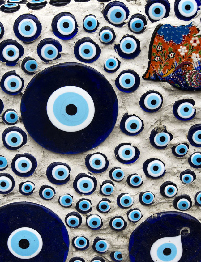 Wall decorated by Evil eye, Istanbul, Turkey Backgrounds Blue Circle Close-up Evil Extreme Close-up Eye Full Frame Geometric Shape Human Eye Multi Colored No People Repetition Turkey