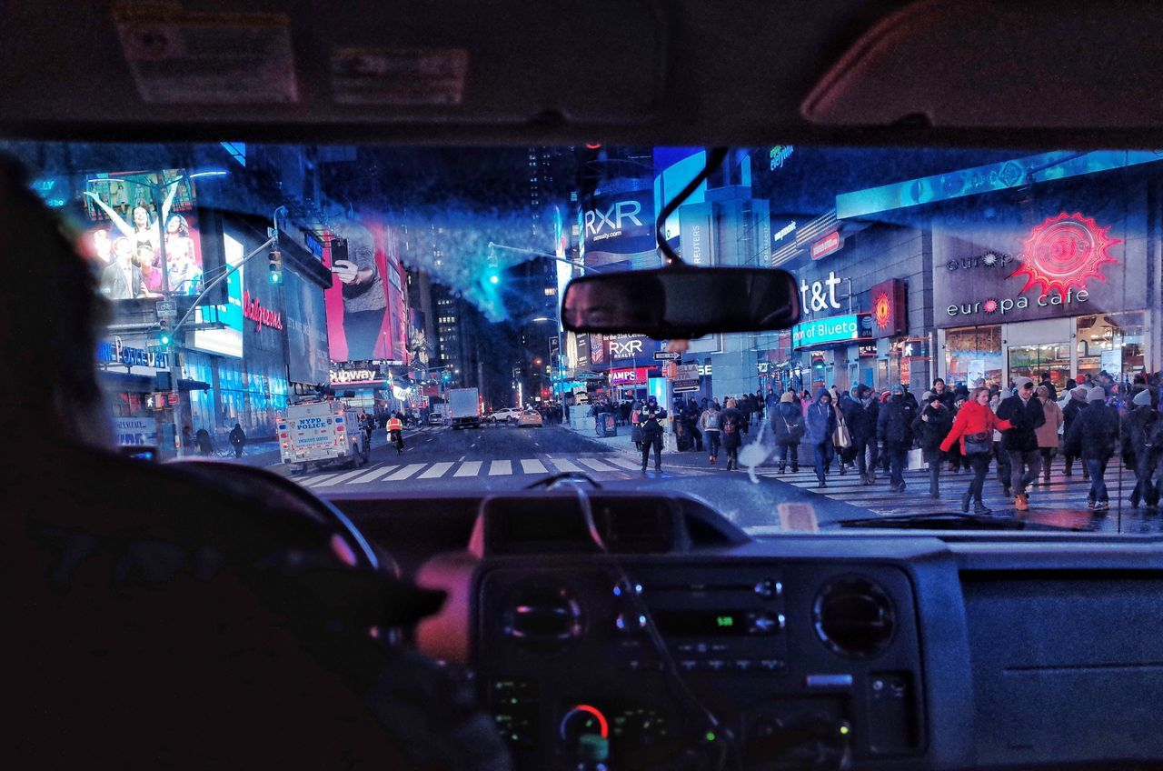 The street of night in NY Transportation Car Mode Of Transport Car Interior My Street Photography My Traveling Photography From My Point Of View Nightphotography Night New York City Life Streetphotography