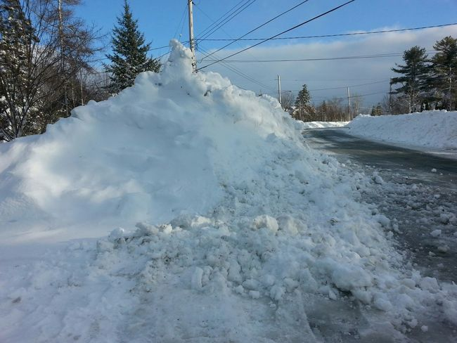Snow Mountain in front of my house. Snowy Snow ❄ This Is Spring? Cold Days Snow Bank Lotsosnow