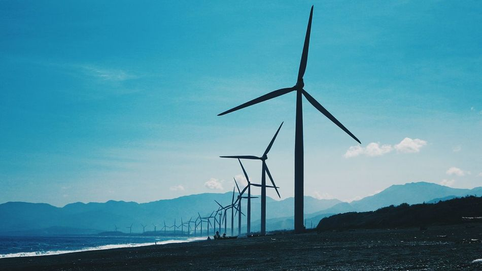 Bangui Windmills 🎡🇵🇭 Blue Rural Scene Nature Sky Environmental Conservation Outdoors Landscape Technology Day Goprohero5 SonyQX10 EyeEm Best Shots Renewable Energy Photooftheday Goprooftheday VSCO Cam TheWeekOnEyeEM Eyeem Philippines Windmill Capture The Moment Low Angle View Sea Tranquility Beach Horizon Over Water