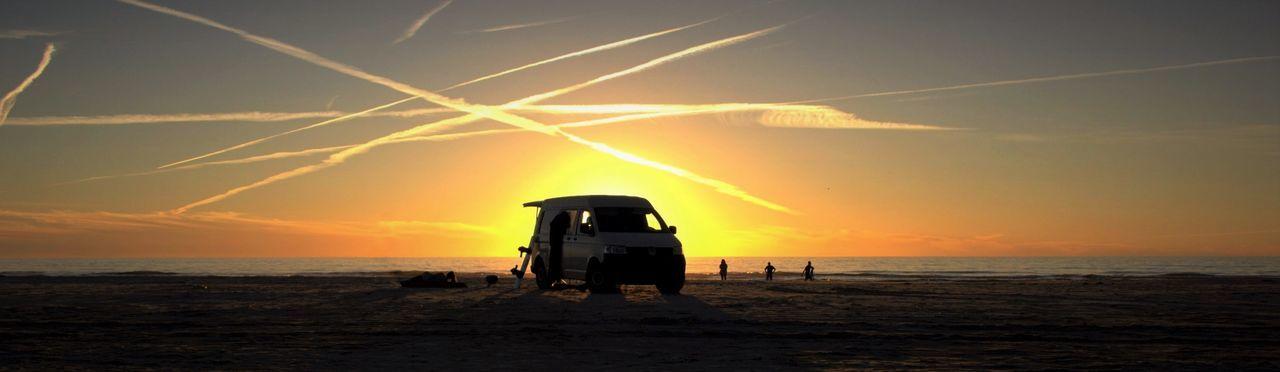 Beach Beauty In Nature Bulli Danmark Dramatic Sky Holydays Nature Outdoors Sand Sea Sunset VW