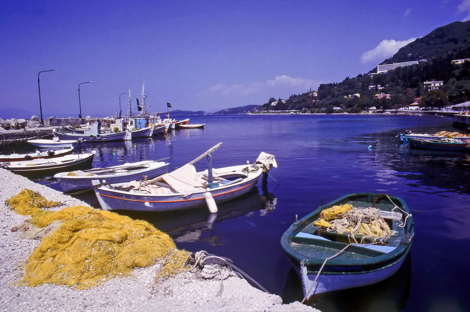 Benitses Harbour, Corfu, Greece Benitses Corfu, Greece Quayside Traditional Culture Travel Photography Greece Harbor Ionianislands Landscape Moored Nautical Vessel No People Picturesque Scenics Tranquil Scene Tranquility Transportation Water Waterfront