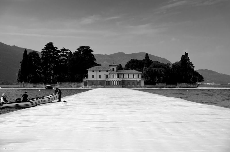 Villa Beretta at Floating Piers Architecture Beauty In Nature Beretta Villa Black And White Building Exterior Built Structure Christo Day Floating Piers Installation Art Iseo Lake Monte Isola Mountain Nature No People Outdoors Sky The Way Forward Travel Destinations Tree Water