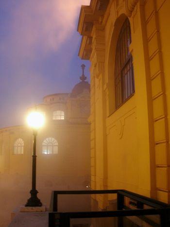 Night Illuminated Building Exterior Outdoors Architecture Hungary Budapest Street Light Old Buildings City Thermal Bath Széchenyi Baths Foggy Mist Windows Light Bathing Warm