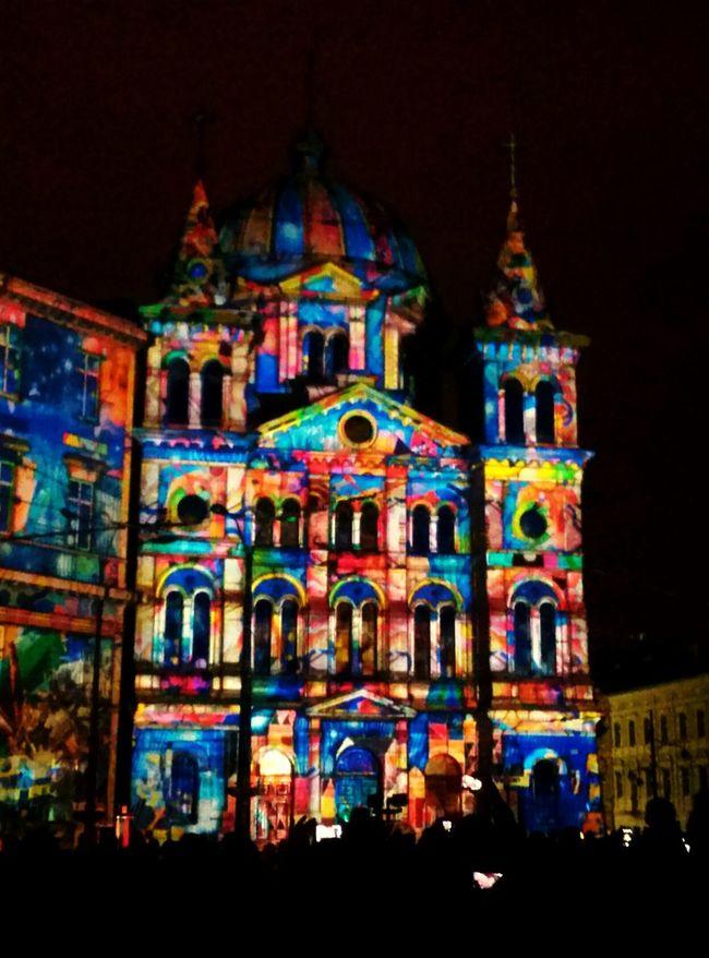 Light Move Festival Light City Street Church Color People Watching Night