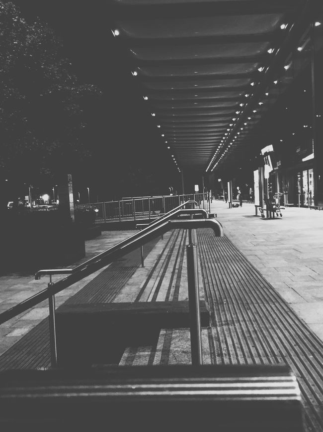 Monochrome Photography Bench Incidental People The Way Forward Modern Diminishing Perspective Long Public Transport Footpath Metal IPhoneography