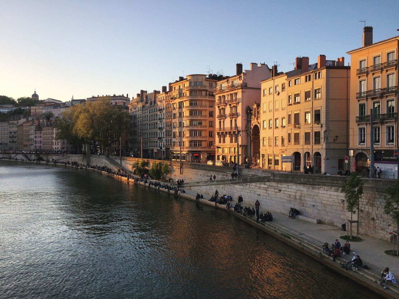 My beautiful city ! Architecture Building Exterior Built Structure City Water River Waterfront Clear Sky Outdoors Residential Building Sky Day Cityscape No People Saone Lyon France Sunset Chilling