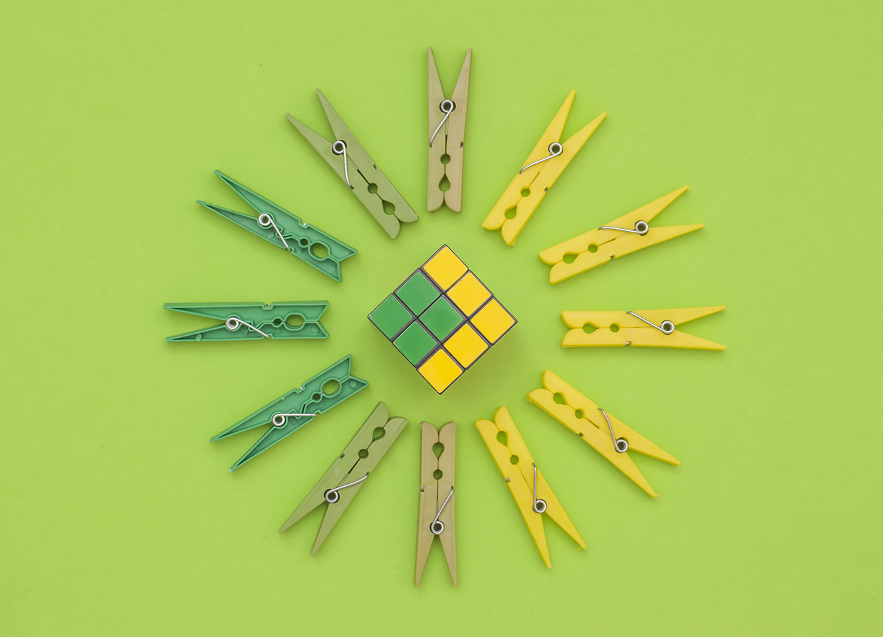 Art And Craft Art Conceptual Brooches Conceptual Creativity Green Color No People Rubik Studio Shot Variation Yellow Yellow Background