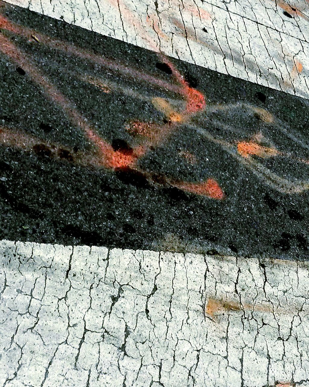 high angle view, day, outdoors, street, no people, cracked, textured, road, close-up
