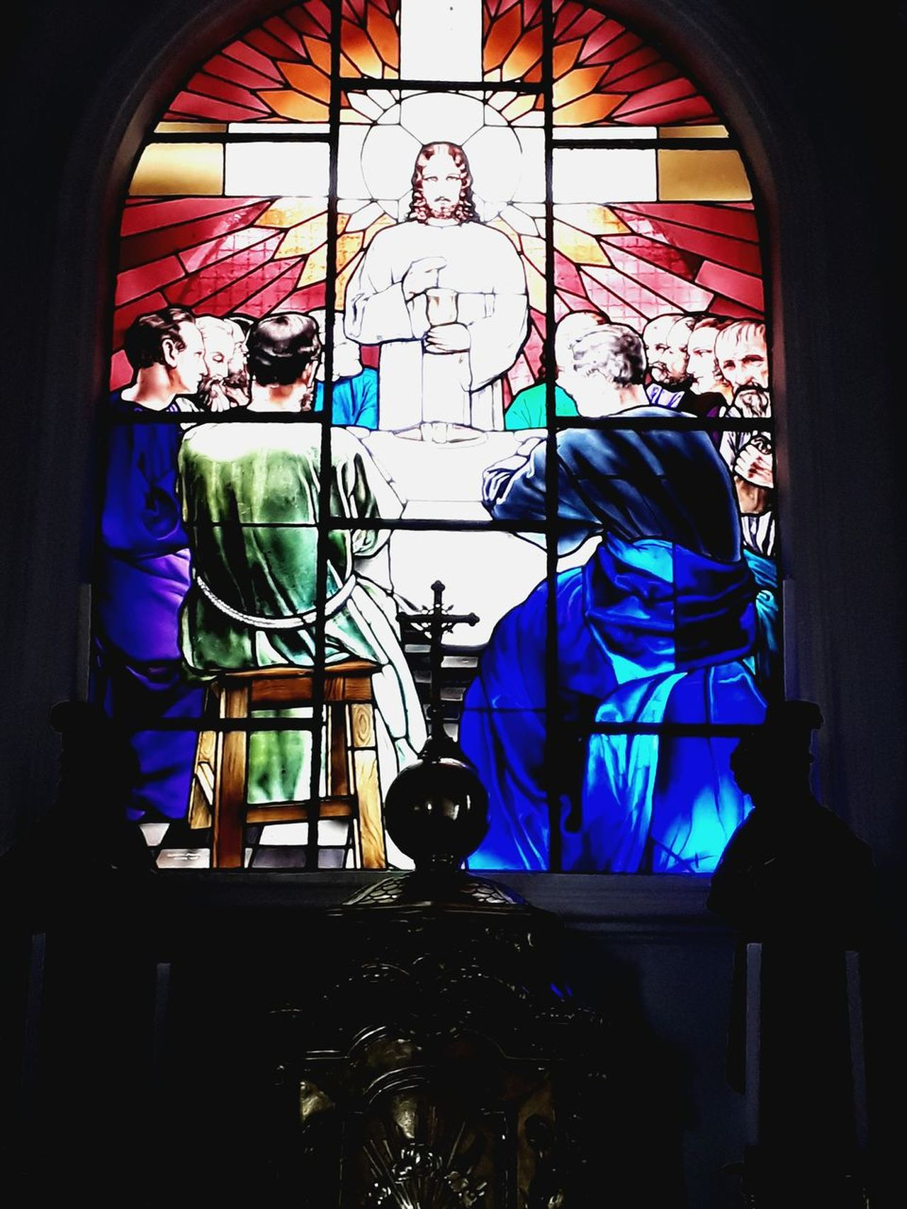 Jesus vitral Window Multi Colored Architecture Religion Human Representation Arch Art And Craft