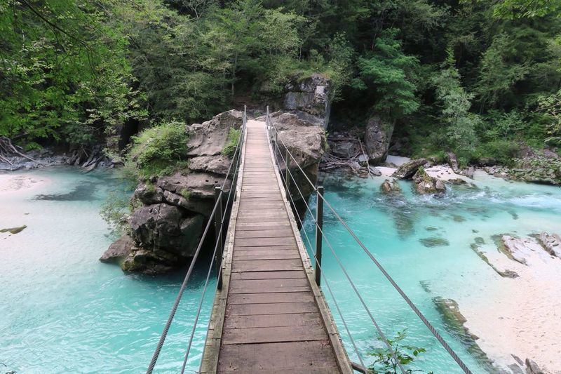 Water Beauty In Nature Tree Nature Tranquil Scene Day Outdoors Forest Scenics River No People Bridge - Man Made Structure Tranquility Travel Destinations Waterfall Slovenia Bovec