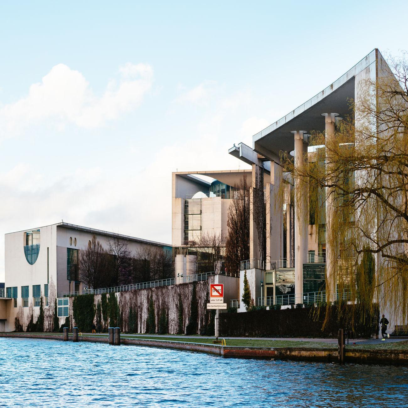 Architecture Building City Kanzleramt Berlin River Spree Water Waterfront