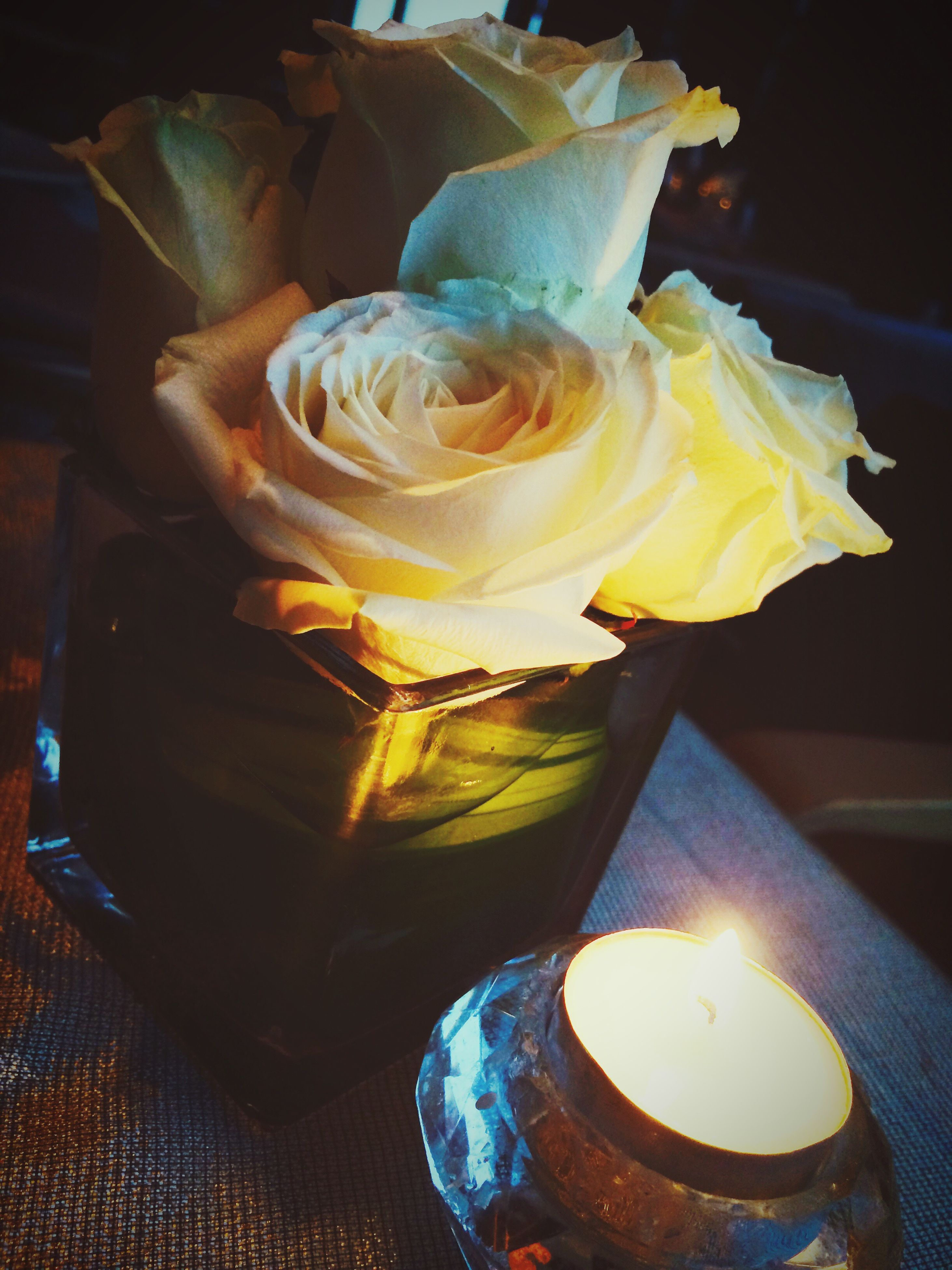 flame, burning, indoors, yellow, close-up, fire - natural phenomenon, illuminated, flower, candle, heat - temperature, freshness, orange color, glowing, still life, no people, table, glass - material, night, focus on foreground, decoration
