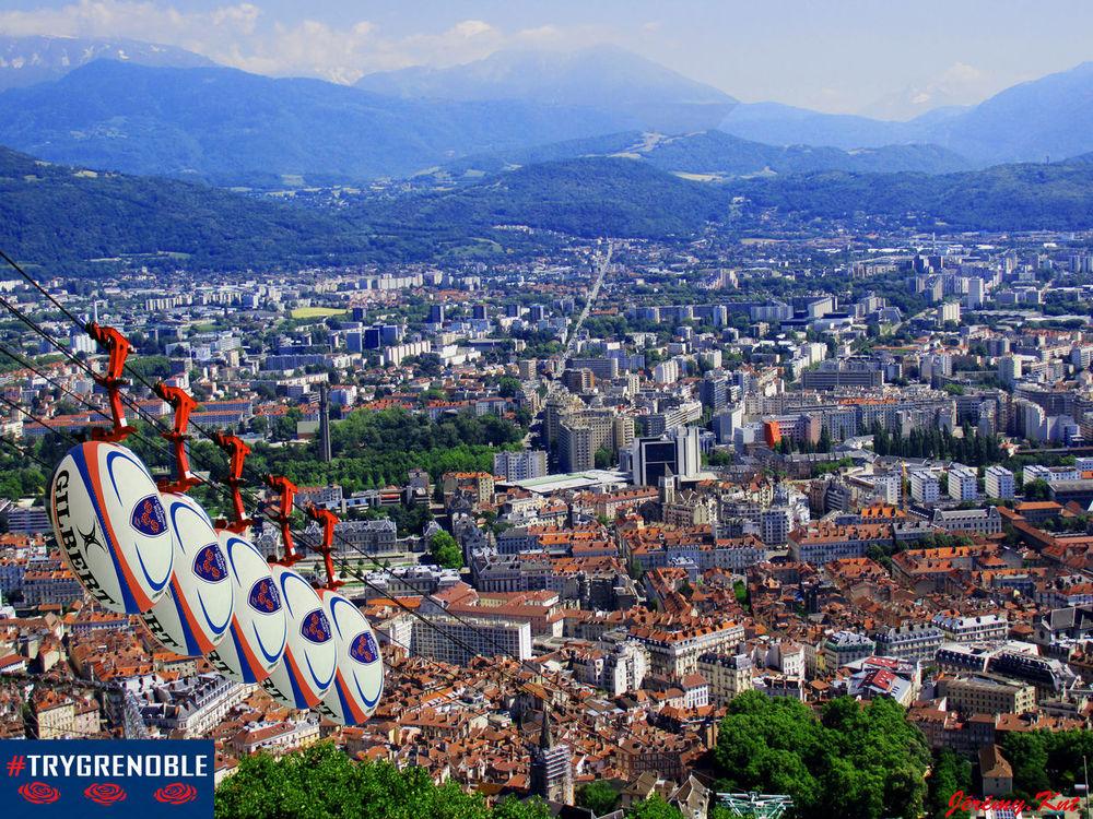 From The Rooftop France Grenoble Téléphérique De La Bastille Rugby FCG TryGrenoble City Cityscapes Mountains