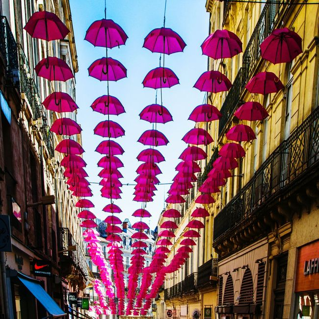 Low Angle View Celebration Decoration Lantern Multi Colored Umbrella Cancerwoman Taking Photos Streetphotography Enjoying Life Popular Photos Colorsplash EyeEm Best Shots Art Is Portable With Caseable Daylife HDR Collection France Quality Time Colorful Red Lantern City Life Outdoors Hdrimage Hdr_pics parapluies pour le depistage du cancer du sein