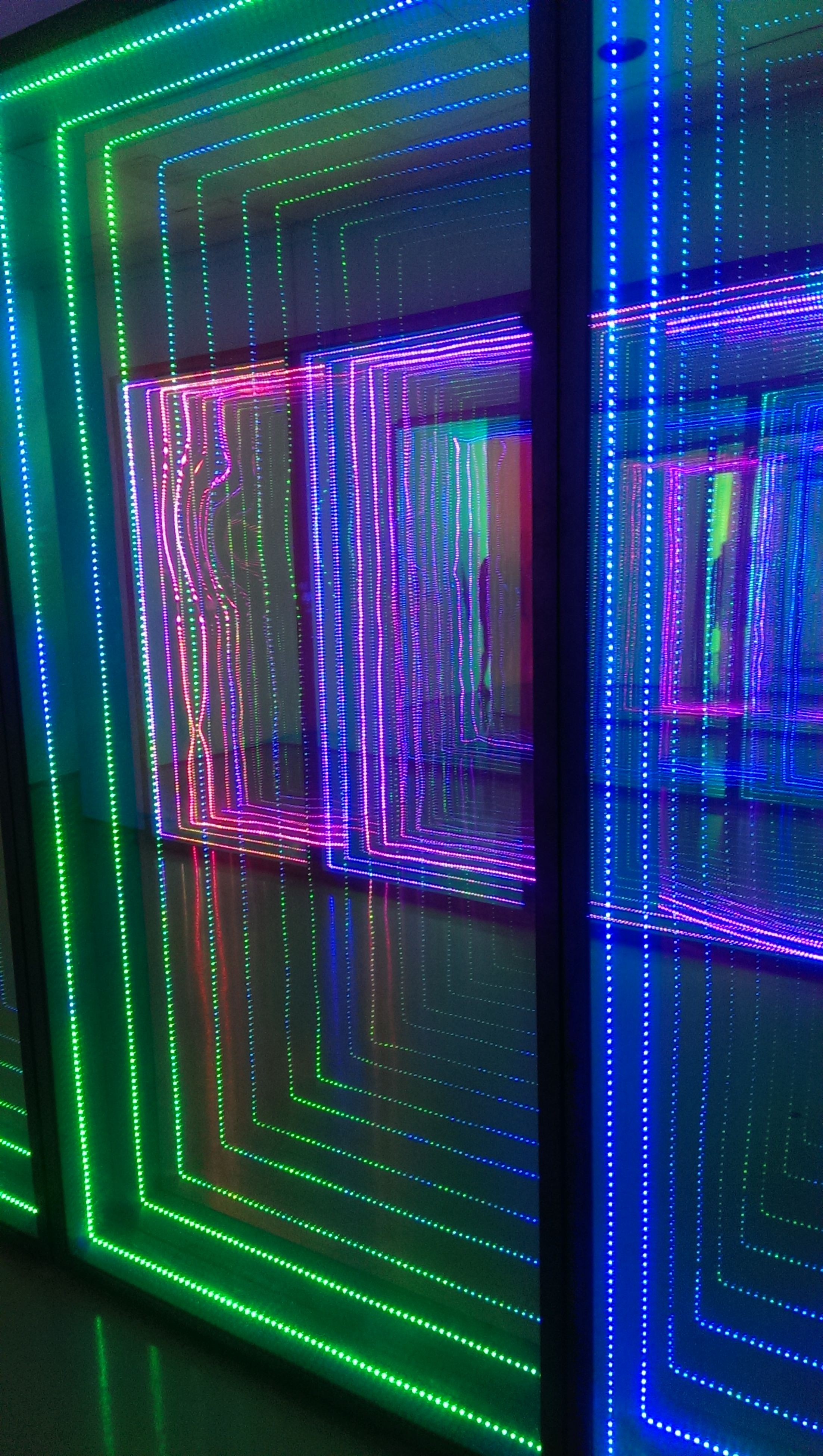 multi colored, illuminated, indoors, technology, green color, no people, close-up, day