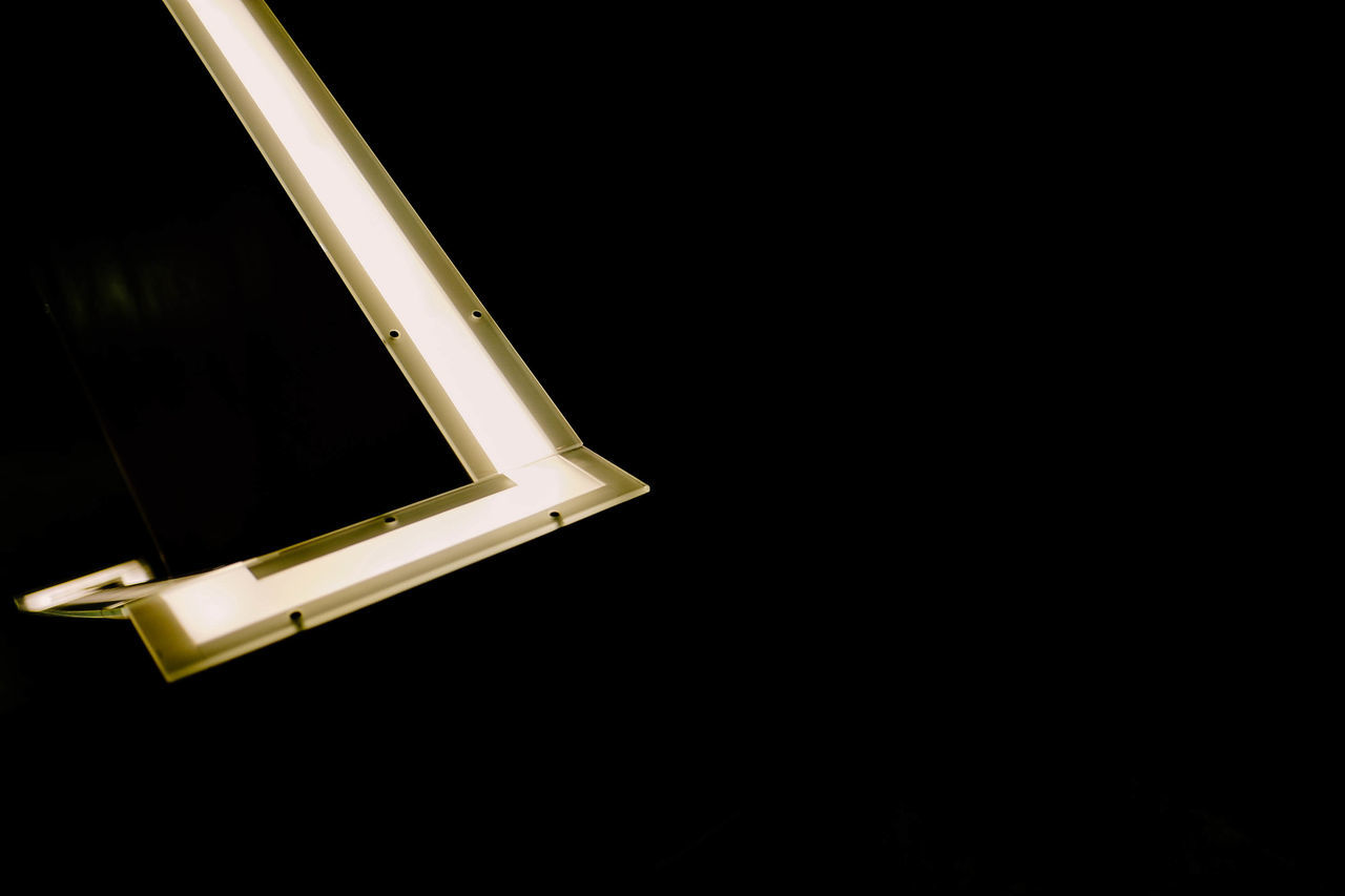 An illuminated stair case Architecture Black Background Black Color Contrast Copy Space Interior Design Light And Shadow Minimalism Minimalobsession Shapes