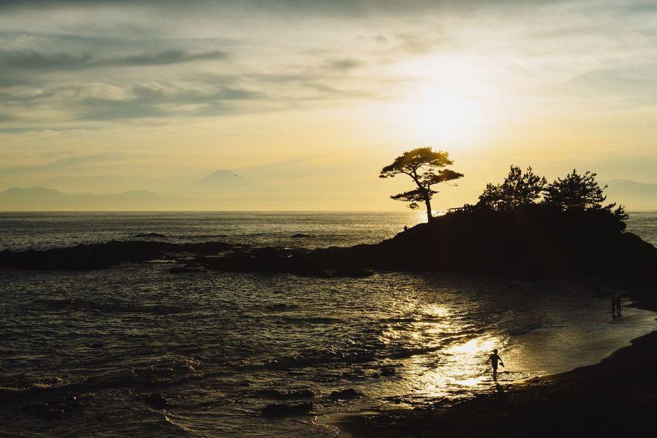 The End Of The Day Sunset Mt Fuji, Japan Sea And Sky Seaside Rock Kanagawa,japan Landscape Evening Sky Seaside Hello World Beatyful Nature Light And Shadow July 2016 Pinetrees