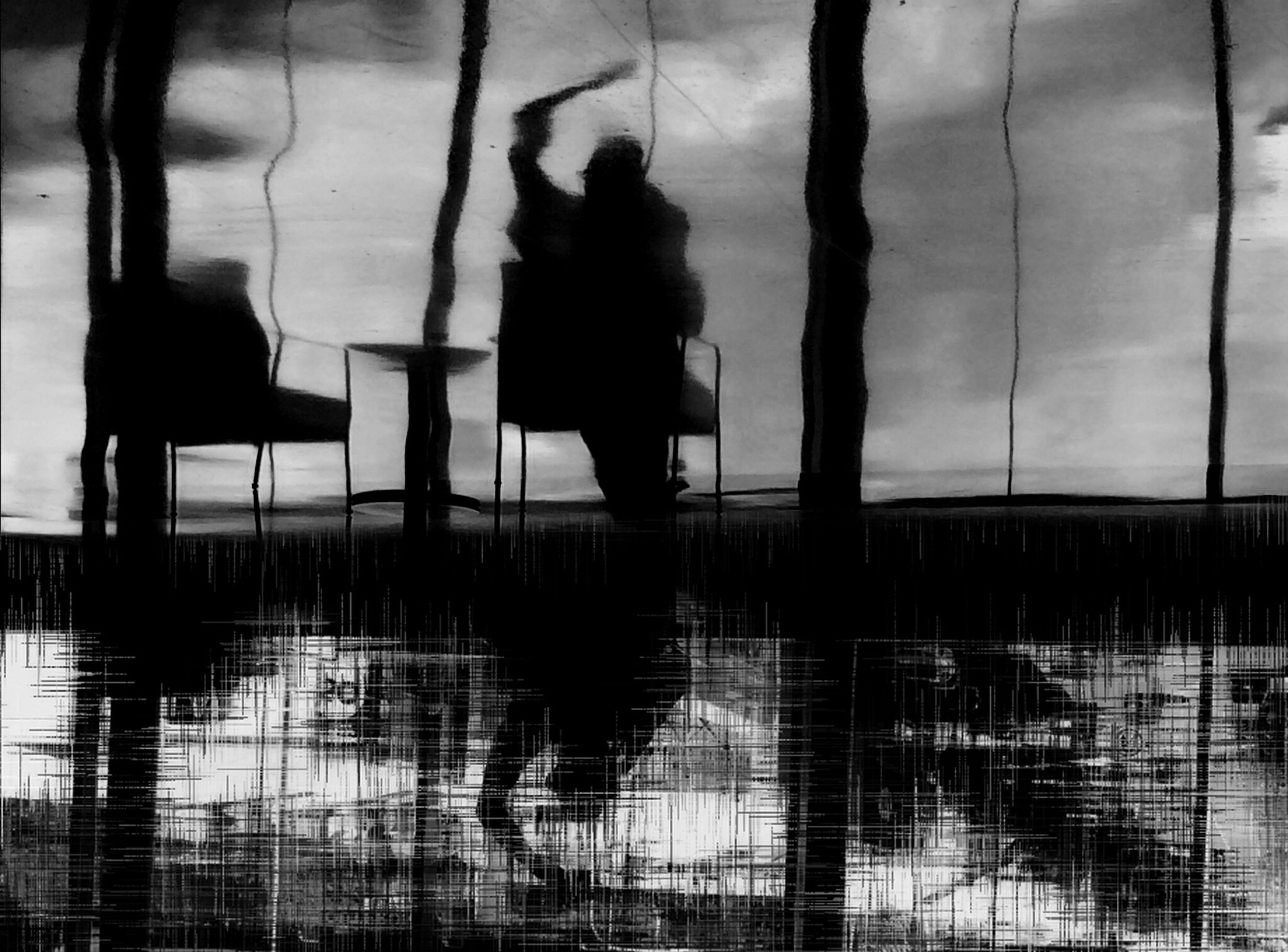silhouette, lifestyles, reflection, men, standing, water, leisure activity, low section, person, unrecognizable person, walking, shadow, indoors, puddle, rear view, built structure