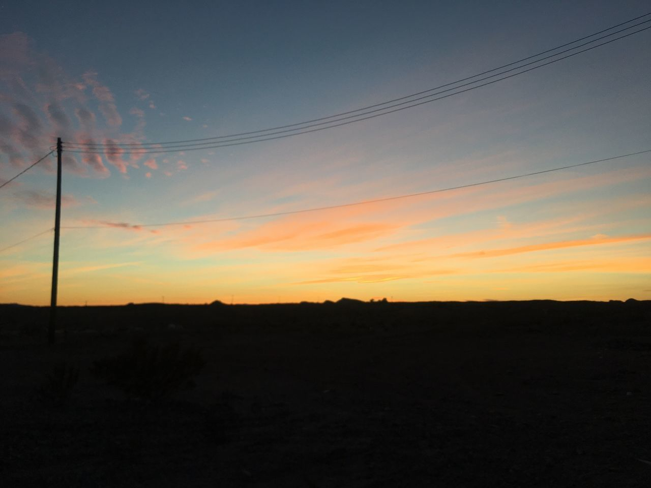 Sky Sunset Electricity  Silhouette Power Line  Tranquil Scene No People Cable Outdoors Scenics Beauty In Nature Landscape