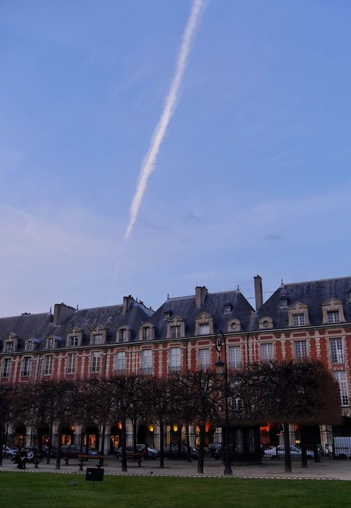 Building Exterior Architecture Built Structure Sky Vapor Trail Outdoors Day City No People Nature Line In The Sky Place Des Vosges Paris France Trees Trees And Sky Light And Shadow