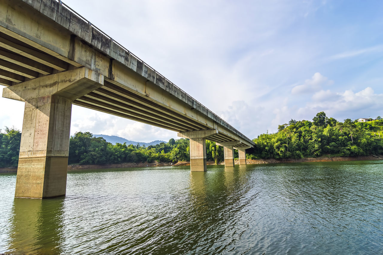 bridge - man made structure, architecture, built structure, connection, river, cloud - sky, architectural column, sky, day, water, tree, below, outdoors, nature, transportation, no people, underneath