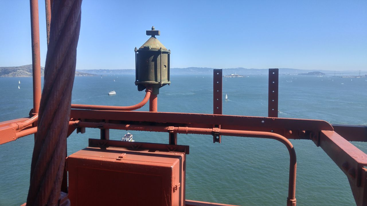Sea Archival Nautical Vessel Business Finance And Industry No People Sky Sailboat Water Clock Outdoors Boat Deck Day Golden Gate Bridge Bay Bay Area EyeEm Best Shots - Nature Nature High Angle View High Up Bridge Man Made Structure Man Made Blue Blue Sky No People,
