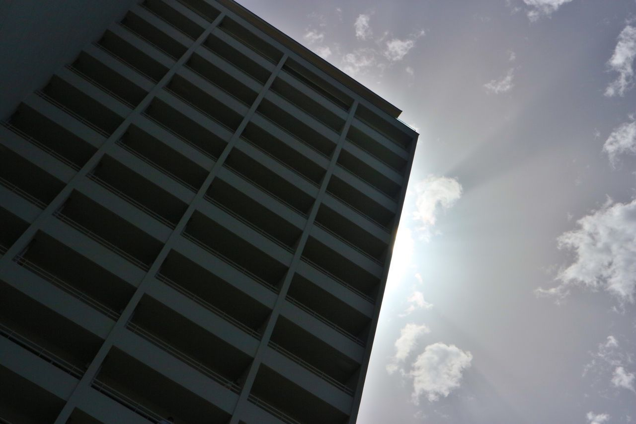 sky, cloud - sky, low angle view, window, day, architecture, built structure, no people, building exterior, outdoors, nature
