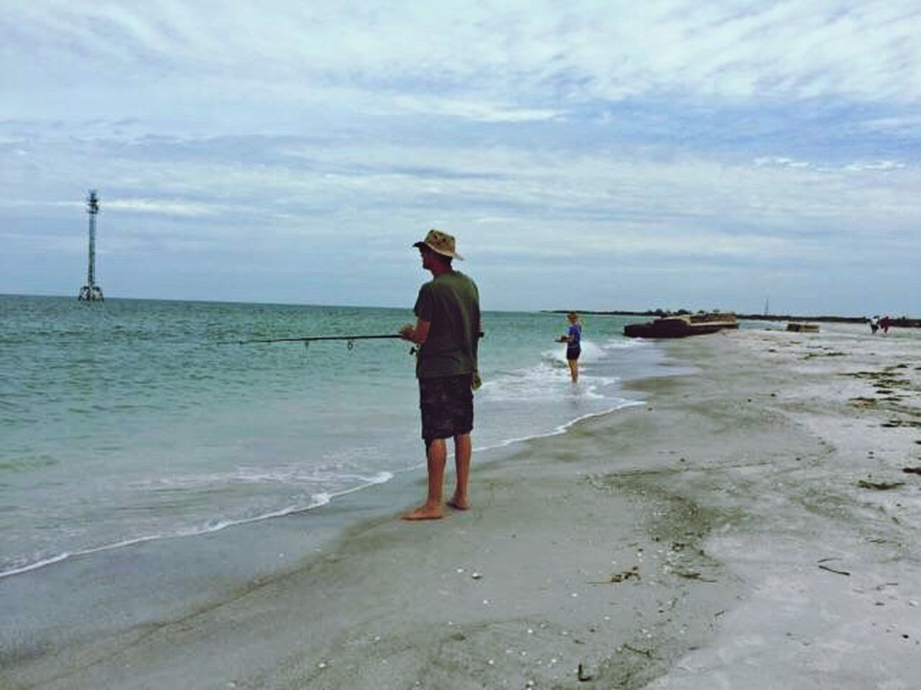 Adventure Club Ocean Breeze Ocean Views Ocean Photography Beach Waves Fishing Trip Fishing Life Fishing On The Beach Fisherman ´s Life Fisherman Beach Fort De Soto Park Fort De Soto Beach FishEyeEm Ocean Water Sand And Beach Beach Fishing Sand Sea Sky Sand And Sea Shells Sand