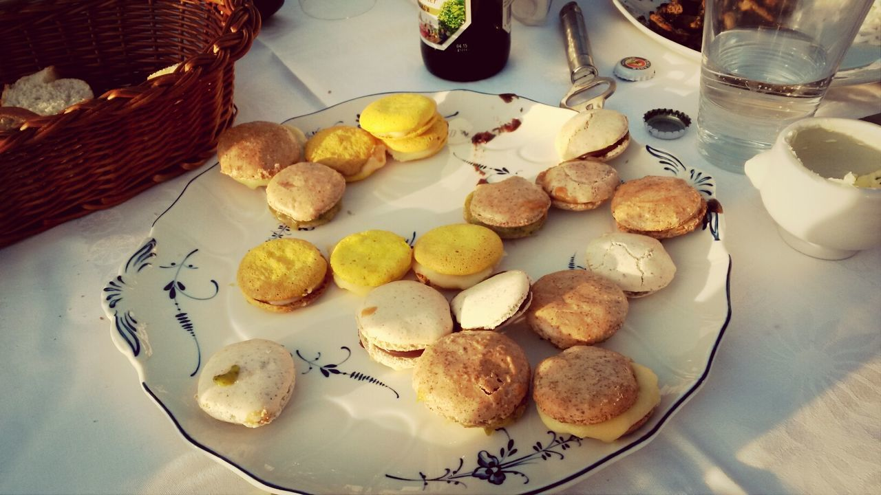 High Angle View Of Cookies In Plate On Table At Home