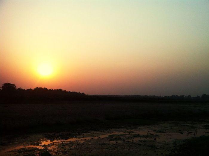 Portrait Of A Friend Sun set view at Shwouraha Chitwan Netational park Nepal