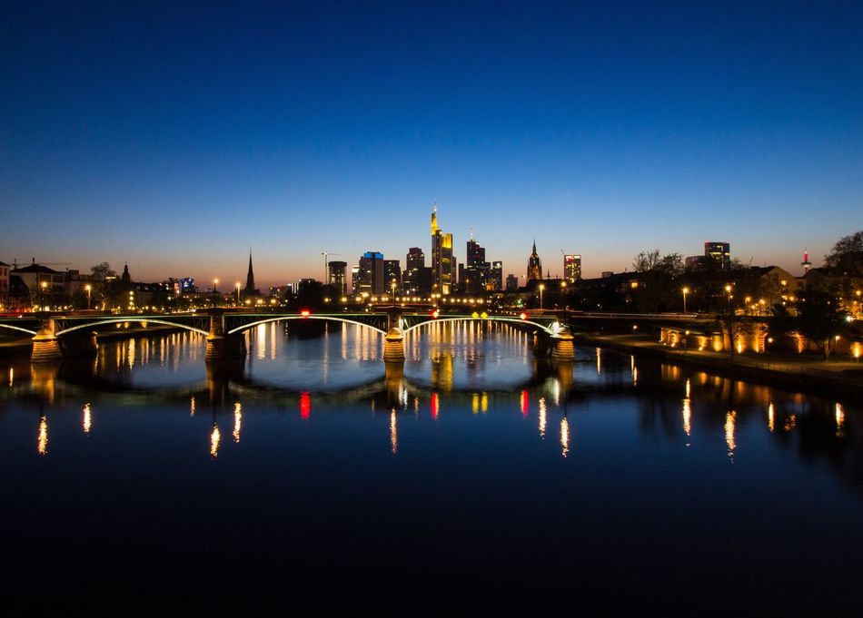FFM - No. 1 Frankfurt Frankfurt Am Main Frankfurt's Life Frankfurtlovers Frankfurtmylove Blue Hour Skyline Illuminated Architecture City Lights Cityscape Wide Angle Wide Shot Photography Landscape Hometown Main River Lights Reflection Reflections In The Water Reflections Eye4photography  EyeEm Gallery Sky