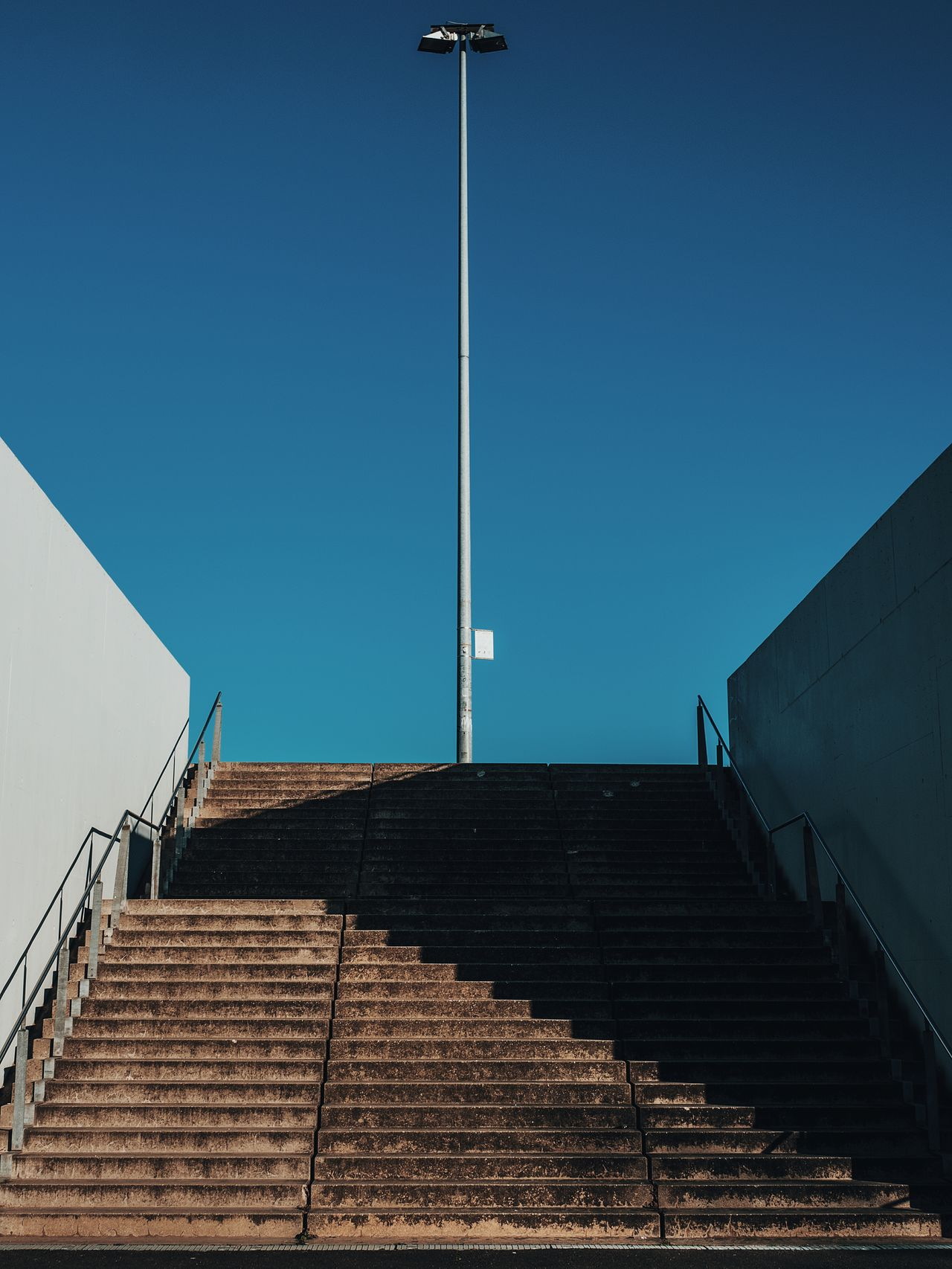 Berlin Velodrome Architecture Blue Sky Clear Sky Concrete Empty Empty Places Minimal Minimalist Architecture Modern Architecture No People Shadow Shadows & Lights Sky Stair Staircase Stairs Symmetrical Symmetry