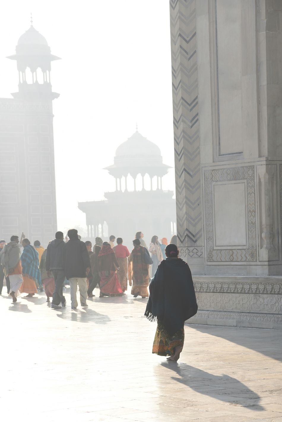 Crowds of visitors early morning at Taj Mahal, Agra Silhouette Built Structure City Rear View Adults Only People Adult Only Men Men Real People Outdoors Day One Person Architecture One Man Only Indiapictures India EyeEm New Here Arts Culture And Entertainment World Heritage Architecture Taj Mahal, Agra Taj Mahal Sightseeing