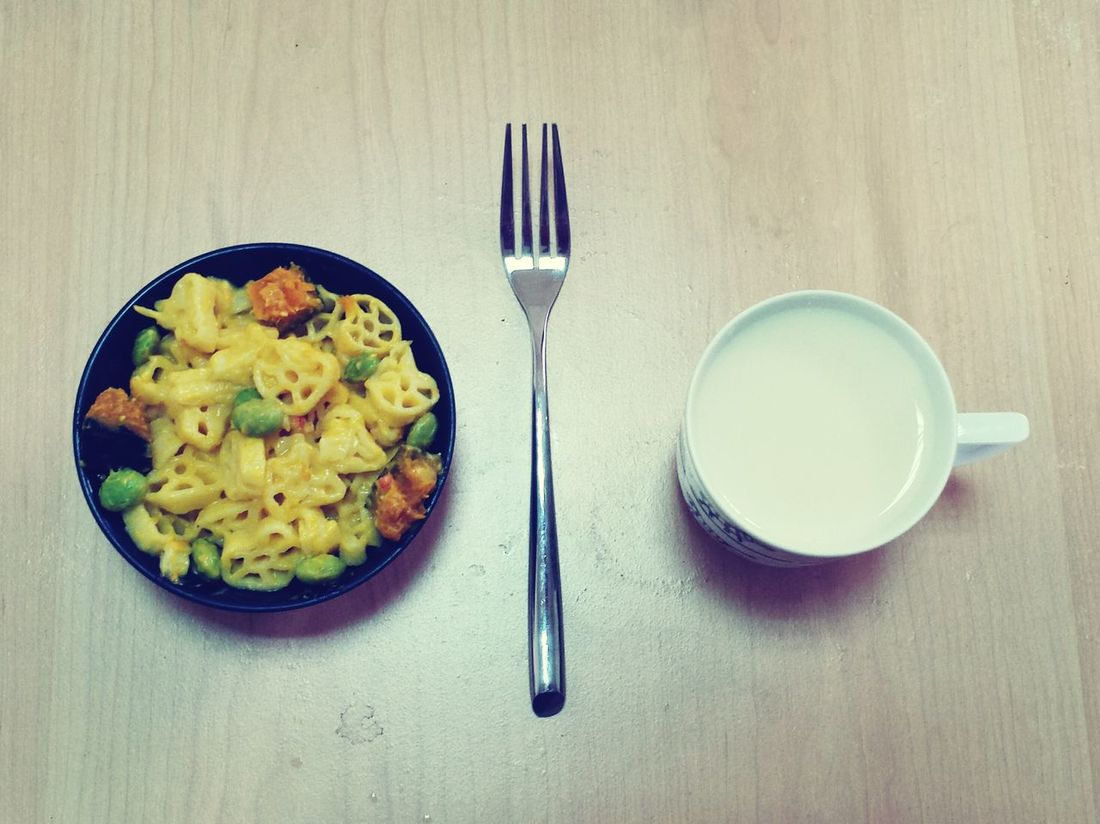 Eating alone with much more fun:) OpenEdit Food Eat Pasta Soymilk Foodporn Alone Fun Healthy Pumpkin