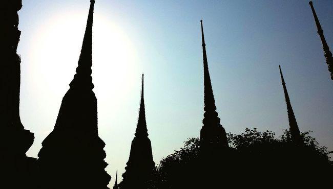 Wat Pho Stupas Krung Thep Bangkok Thailand Silhouette Stupa Phra Nakhon Temple Buddhism Buddhist Southeast Asia Downtown City Outdoors Sky ASIA Evening