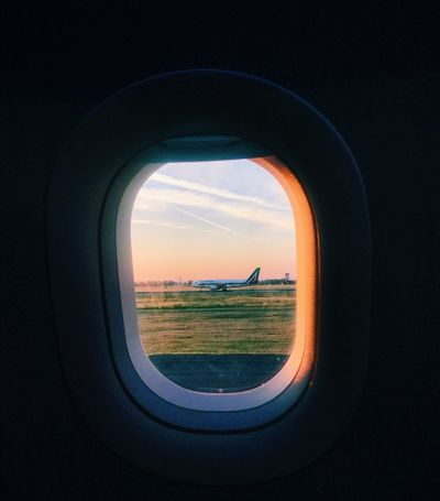 Views from the runway Window Airplane Sky Sunset Journey Flying VSCO Vscocam First Eyeem Photo
