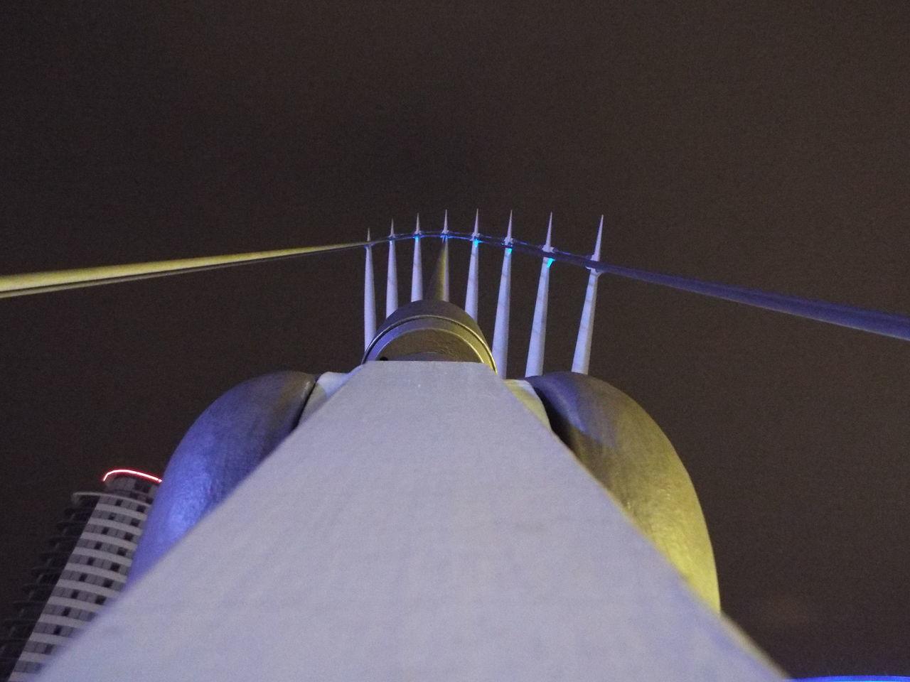 Media City UK footbridge cables and posts Night View Lighting Footbridge Swing Bridge Cable Bridge Bridge Media City Salford Salford Quays Salford United Kingdom Posts Cable