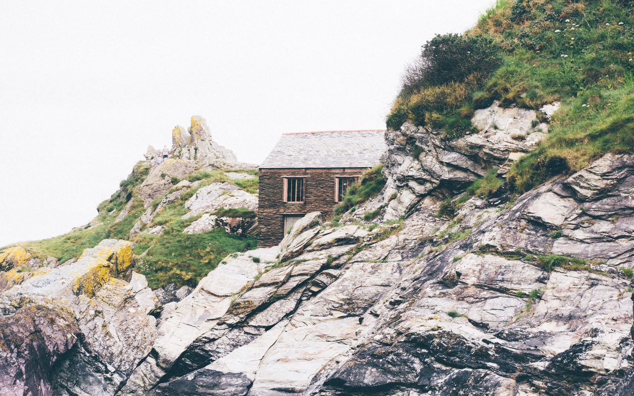 Hidden house Abandoned Cliff Cloud Cloudy Cornwall Cornwall Uk Grass Hidden House Lonely Rocks Rocky